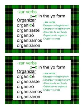 Spanish  Irregular preterite verb charts