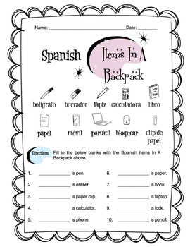 Spanish Items In A Backpack Worksheet Packet