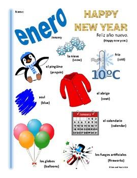Spanish January Themed Vocabulary Bilingual Spanish ESL