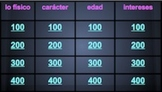 Spanish Jeopardy game: family, personal adjectives, ages,