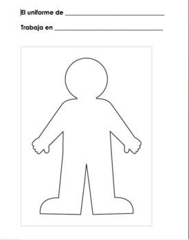Spanish Jobs Uniform Worksheet | Los Uniformes
