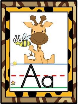 Spanish Jungle Safari Alphabet Line Posters A-Z