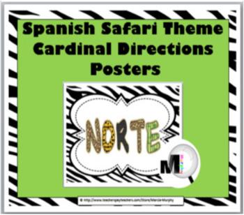 Jungle Theme Classroom Decor - Cardinal Directions Signs - Spanish