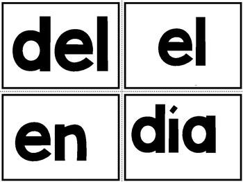 Spanish Kinder Sight Words