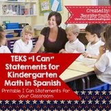 "Spanish Kindergarten Math TEKS ""Yo Puedo"" Statements"