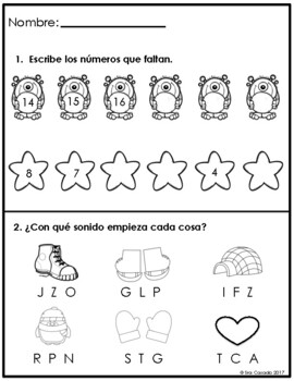 Spanish Kindergarten Morning Work (February) Language Arts and Math