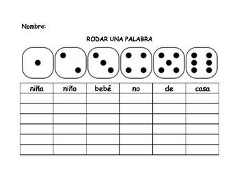 Spanish Kindergarten Roll-A-Word