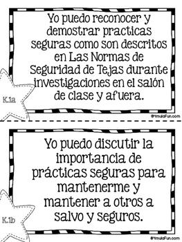 "Spanish Kindergarten Science TEKS ""Yo Puedo"" Statements"