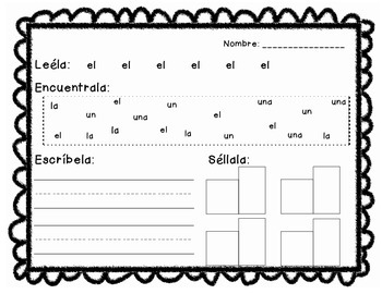 Spanish Kindergarten Sight Word Practice