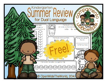 Spanish Kindergarten Summer Review: Campamento Widjiwagan FREE PREVIEW