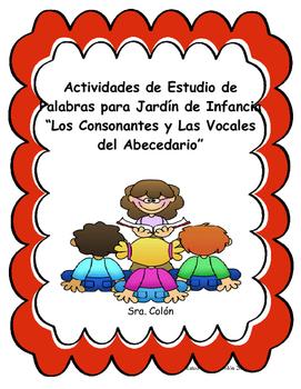 Spanish Kindergarten Vowels and Consonant Word Work