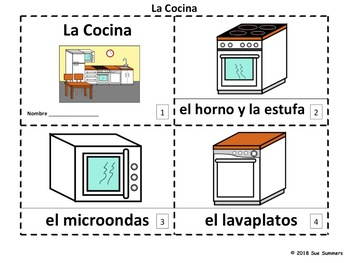 Spanish Kitchen 2 Emergent Reader Booklets - La Cocina