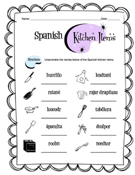 Spanish Kitchen Items Worksheet Packet