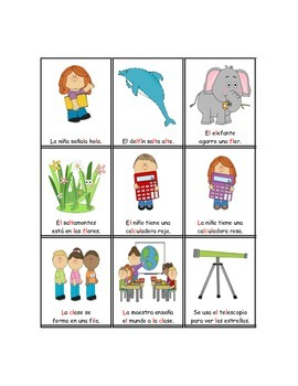 Spanish L and L blend Sentence Flashcards