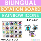 English and Spanish LITERACY Icon Rotation Board