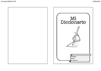 picture about Printable Dictionary identify Spanish LOTE Do-it-yourself scholar Dictionary/Glossary printable