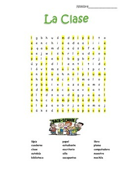 Spanish Classroom La Clase Word Search Puzzle