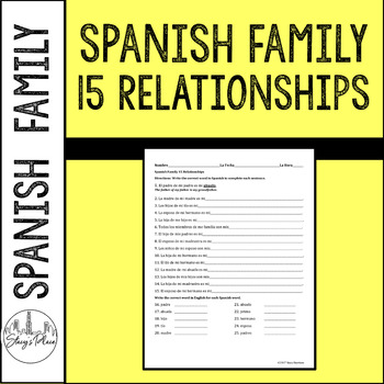 Spanish La Familia: The Family 15 Sentences, Family Relationships