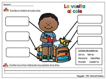 Spanish Label The Picture Packback To School La Vuelta Al Cole