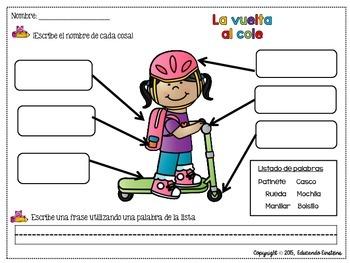 Spanish Label the Picture Pack:Back to school / La vuelta al cole
