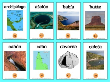 Spanish Landform Vocabulary Cards and Word Wall