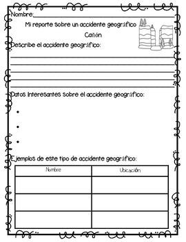 In Spanish | Landforms {Accidentes Geográficos / Projecto de Investigación}