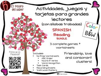 Actividades con sílabas trabadas - Spanish Valentine's Language Arts BUNDLE