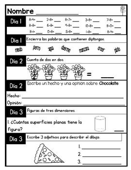 Spanish Language Arts and Math Morning Work *May Edition*