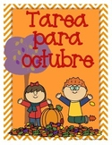 Spanish Homework for Kindergarten/1st Grade:  October Spanish Language Arts/Math