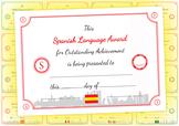 Spanish Language Award Certificate