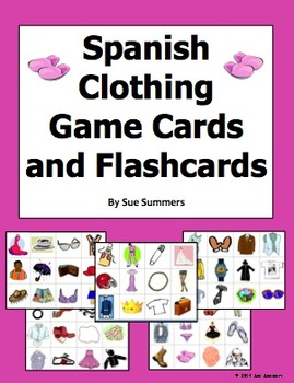 Spanish Clothing / Any Language 60 Game Cards / Flashcards