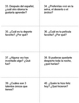 Spanish Language Conversation Starters ~ Intermediate to Advanced
