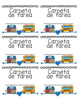 Spanish Language Homework Folder Labels for Bilingual Classes - Carpeta de tarea