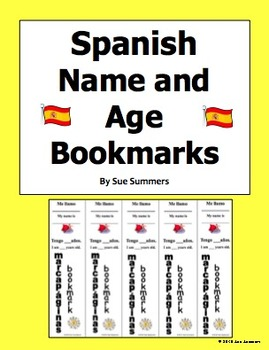 Spanish Bookmark With Name and Age