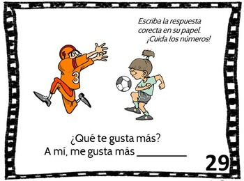 Spanish Language Task Cards  for Que te gusta hacer or Things You LIke to Do
