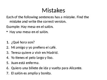 Spanish Language and Culture: Lessons 1-6, Test Your Progress