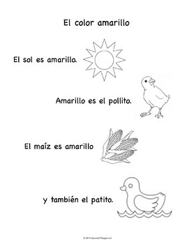 Spanish Language and Culture for Preschoolers - Yellow Color Sheet