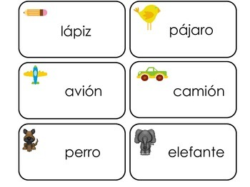 Spanish Language printable Picture Word Flash Cards. Preschool flashcards.  ESL