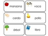 Spanish Language printable Picture Word Flash Cards. Presc