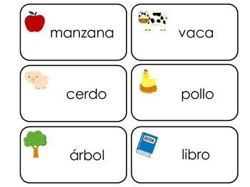 Spanish Language printable Picture Word Flash Cards. Presc