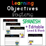Spanish Learning Objectives Posters - EDITABLE - Lined and Blank
