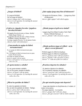 Spanish Leisure -Sports  Modified Speed Dating  Whole Class Speaking