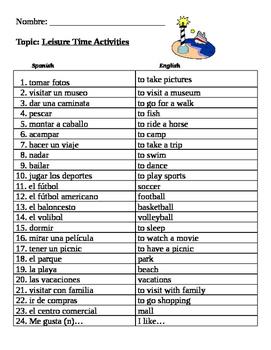 Spanish Leisure Time Vocabulary