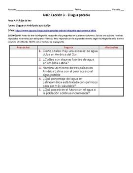 Spanish Lesson - El agua potable