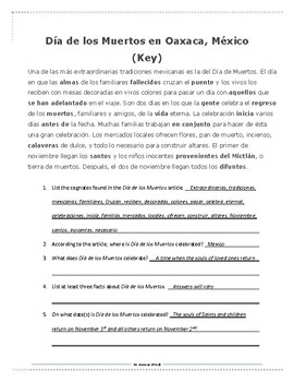 Dia de los Muertos Spanish lesson materials (Nov 1-2)