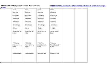 Spanish Lesson Plan Template