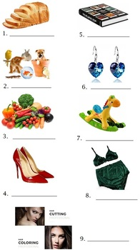 Spanish Lesson Shopping Compras 7 Worksheets with Answers