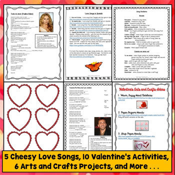 Spanish Valentine's Day, Día de los enamorados Lesson Plans, Vocab, Songs, Games