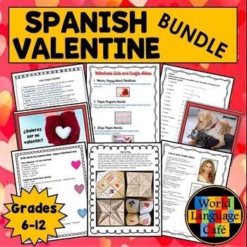 Spanish Valentine's Day Activities, Día de San Valentín, los Enamorados Bundle