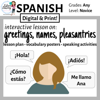 Spanish Lesson on Greetings, Name, and How Are You